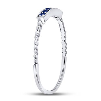 10kt White Gold Womens Round Blue Sapphire Beaded Stackable Band Ring 1/20 Cttw