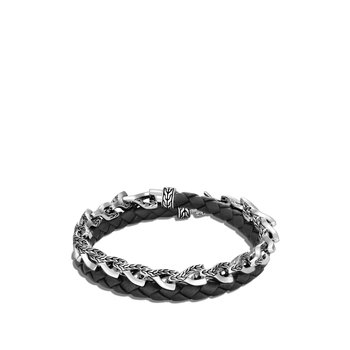 Asli Classic Chain Link Double Wrap Bracelet, Silver, Leather