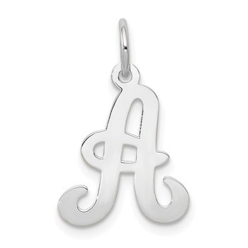 14KW White Gold Script Letter A Initial Charm