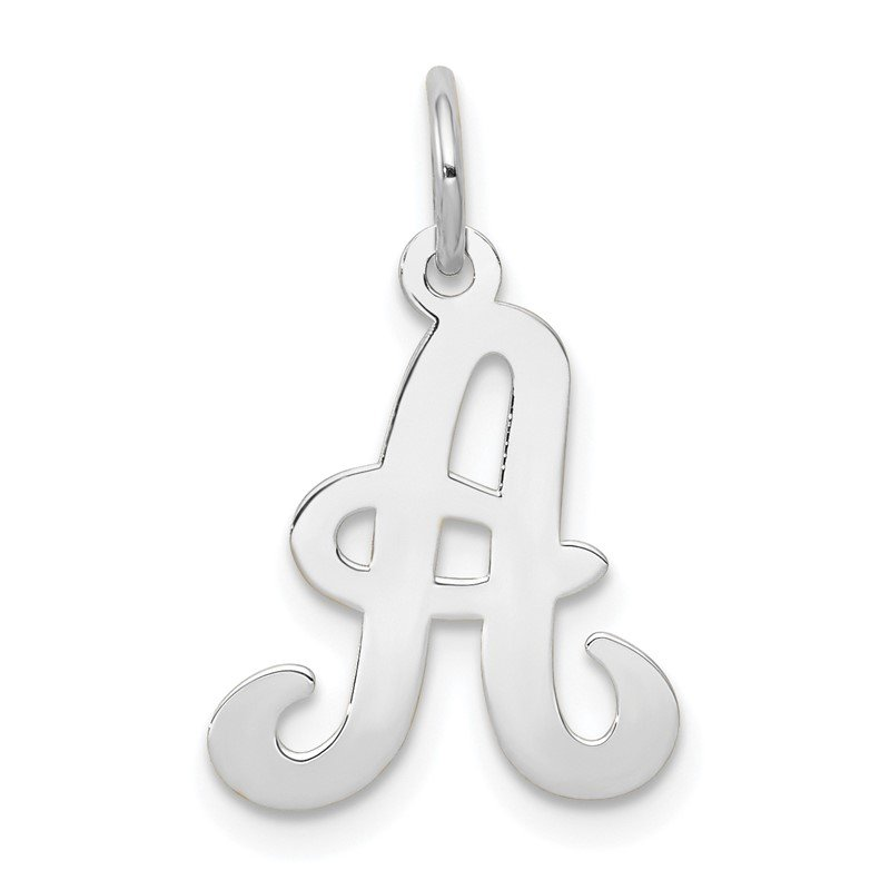 Quality Gold 14KW White Gold Script Letter A Initial Charm