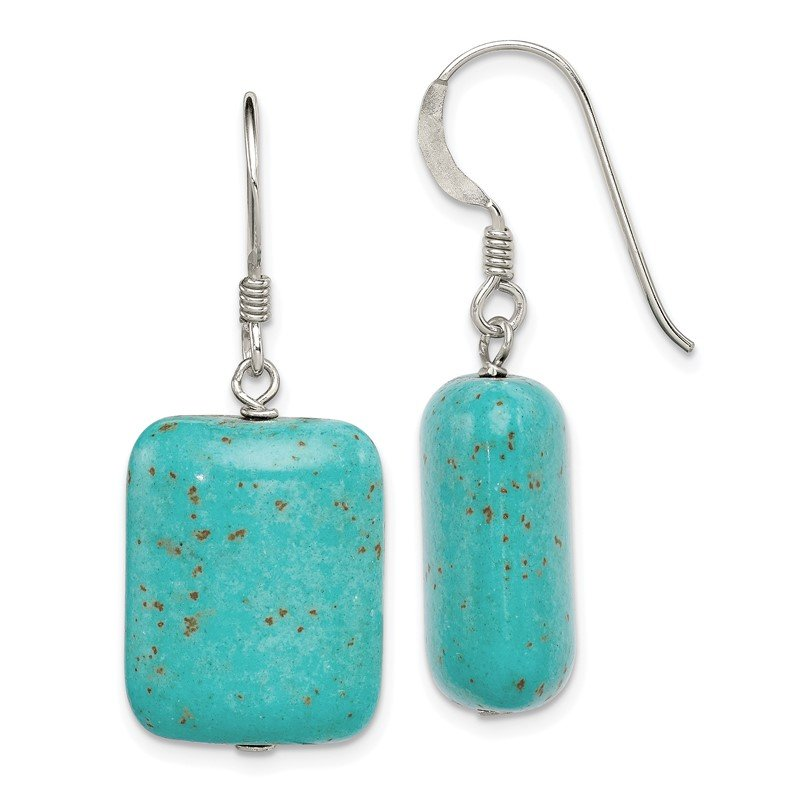 Quality Gold Sterling Silver Dyed Howlite Earrings