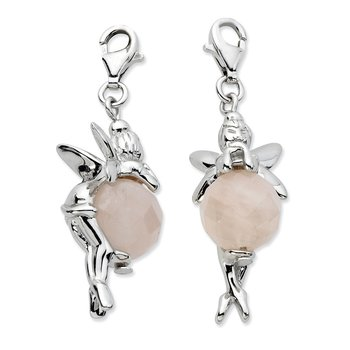 Sterling Silver Click-on Polished Fairy W/ Moveable Rose Quartz Stone Charm
