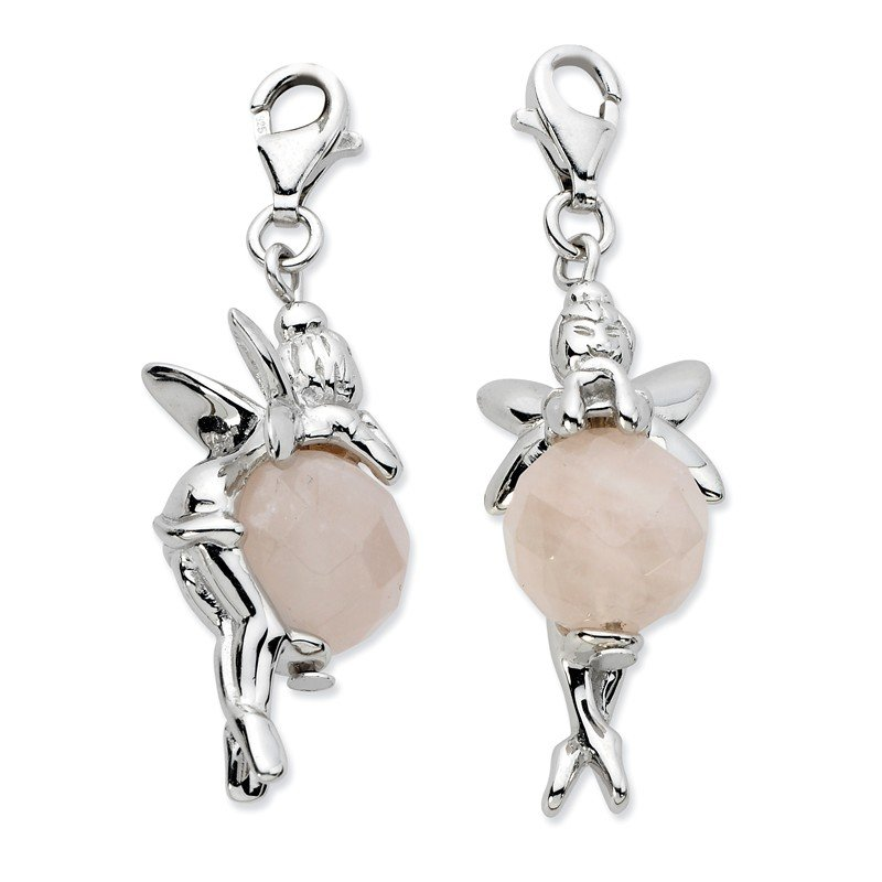 Quality Gold Sterling Silver Click-on Polished Fairy W/ Moveable Rose Quartz Stone Charm