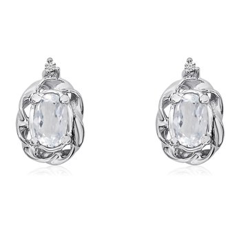 14k White Gold White Topaz Scroll Diamond Earrings