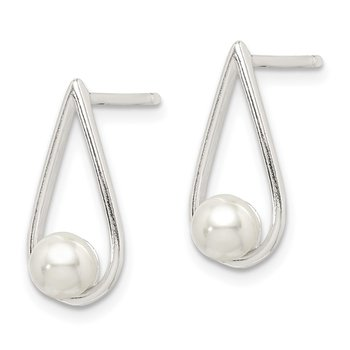 Sterling Silver Glass Pearl Earrings