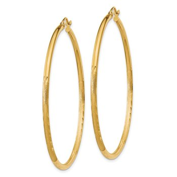 14k Satin and Diamond-cut 2mm Round Tube Hoop Earrings