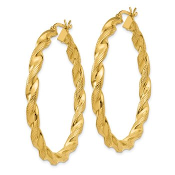 Sterling Silver Gold-flashed Patterned Twist 4x45mm Hoop Earrings