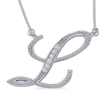 White Gold Diamond Initial L Pendant