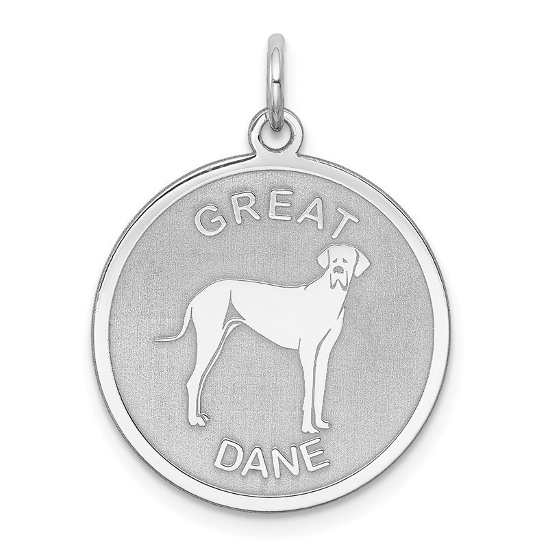 Quality Gold Sterling Silver Rhodium-plated Great Dane Disc Charm