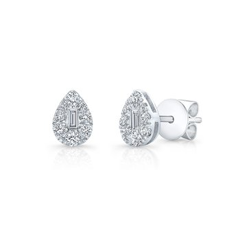 White Gold Pear Shaped Cluster Baguette Studs