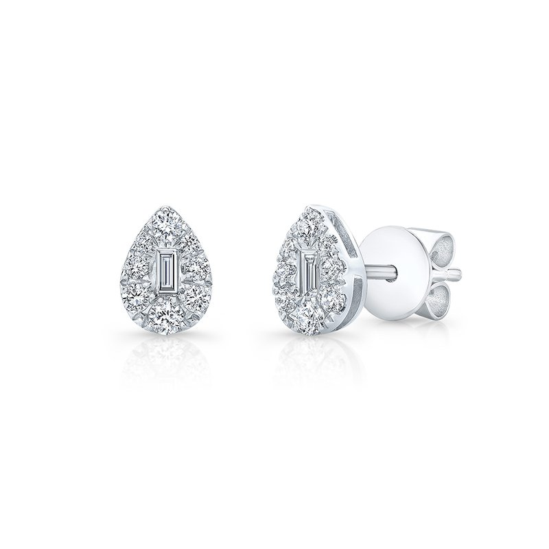 Robert Palma Designs White Gold Pear Shaped Cluster Baguette Studs