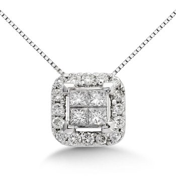 Princess Cut Invisible Set  Halo Pendant, 14k White Gold (1 ct. tw.)