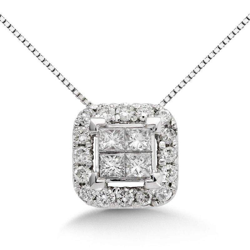 SDC Creations Princess Cut Invisible Set  Halo Pendant, 14k White Gold (1 ct. tw.)