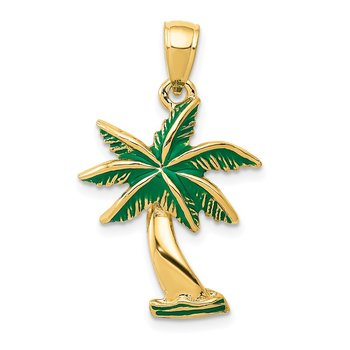 14k Enameled Palm Tree Pendant