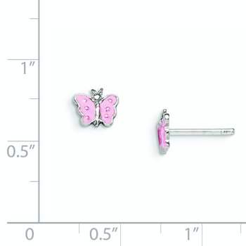 Sterling Silver Rhodium-plated Child's Enameled Butterfly Earrings