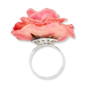 Lacquer Dipped Pink Rose Adjustable Silver-tone Ring