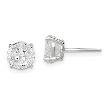 Sterling Silver 7mm Round Basket Set Cross-cut CZ Stud Earrings