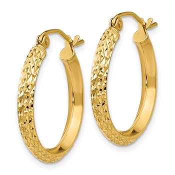 14K Knife Edge Diamond-cut 2.5x20mm Hollow Hoop Earrings