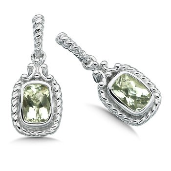 Sterling Silver and Green Amethyst Earrings
