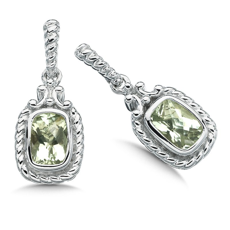 Colore SG Sterling Silver and Green Amethyst Earrings