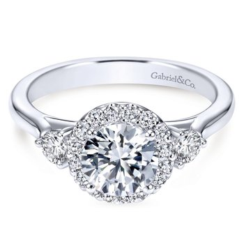 14k White Gold Diamond Round Pave Halo Engagement Ring and Side Stone Setting