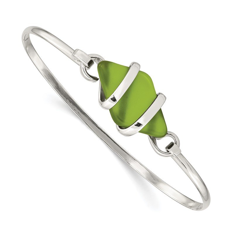 Quality Gold Sterling Silver Green Sea Glass Bangle