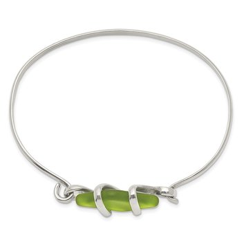 Sterling Silver Green Sea Glass Bangle