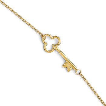 Leslie's 14K Polished Key Anklet w/1in ext.