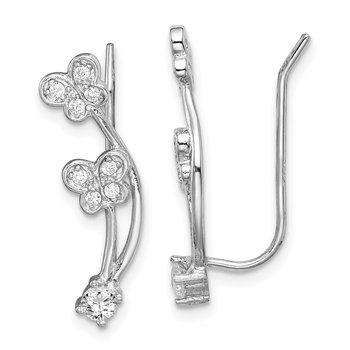 Sterling Silver Rhodium-plated CZ Butterfly Ear Climber Earrings
