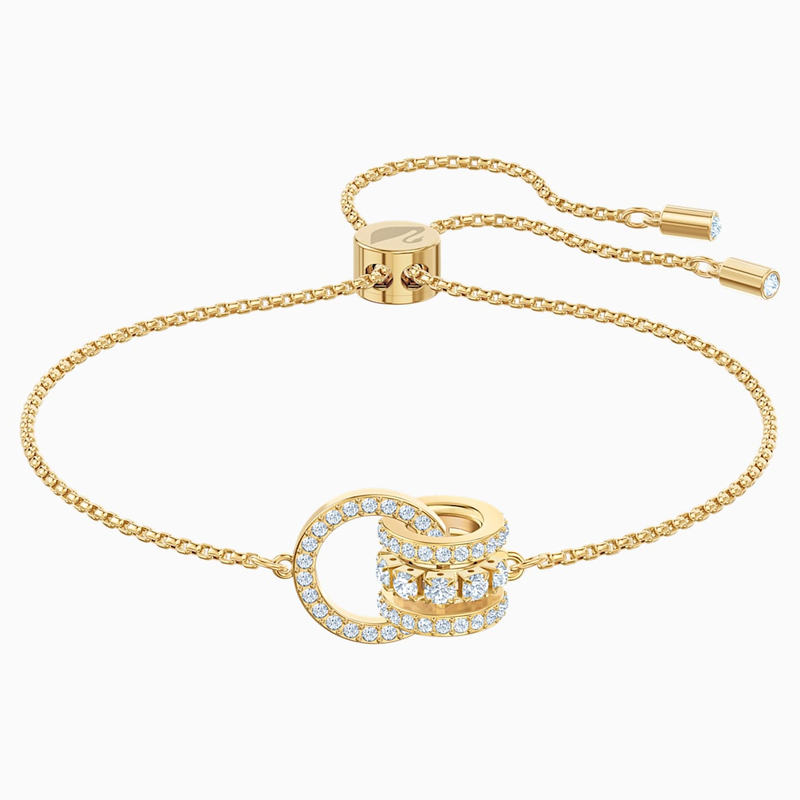 Swarovski Further Bracelet, White, Gold-tone plated