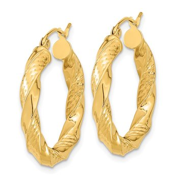 14k Polished & D/C Twist Hoop Earrings