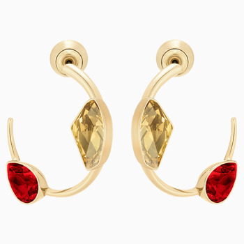 Prisma Pierced Earrings, Multi-colored, Gold-tone plated