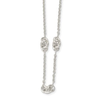 Sterling Silver Polished Fancy Chain w/2 in ext Necklace