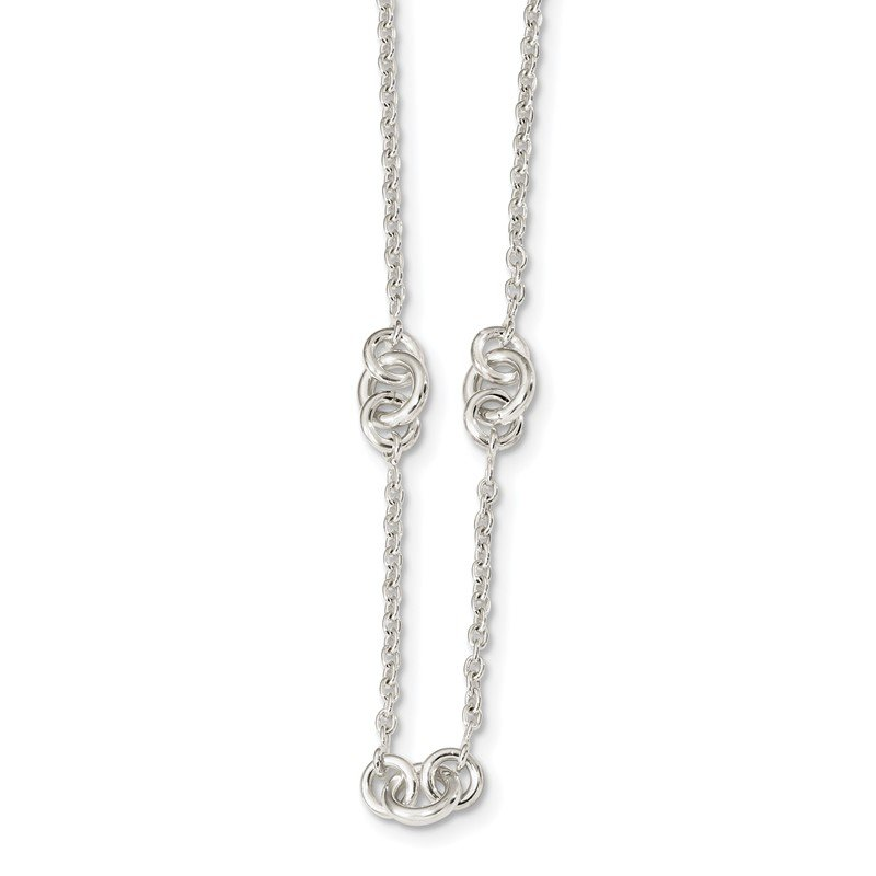 Arizona Diamond Center Collection Sterling Silver Polished Fancy Chain w/2 in ext Necklace