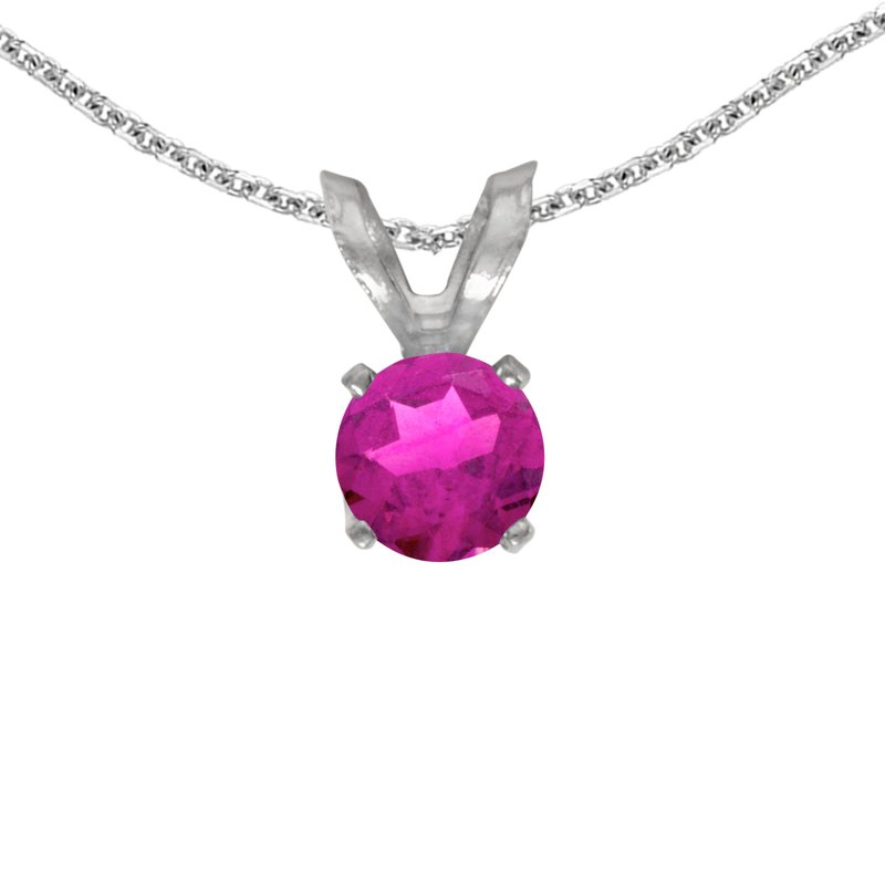 Color Merchants 14k White Gold Round Pink Topaz Pendant