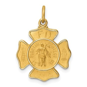 14k Solid Polished/Satin Small St. Florian Fire Dept. Badge Medal