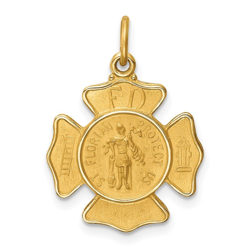 Quality Gold 14k Solid Polished/Satin Small St. Florian Fire Dept. Badge Medal
