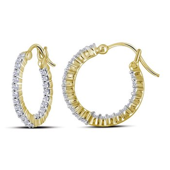 14kt Yellow Gold Womens Round Diamond Single Row Hoop Earrings 1/2 Cttw