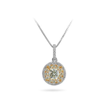 14K WY Gold with White and Fancy Yellow Diamond Round Halo Pendant in Prong Setting set with Daimonds on the bale