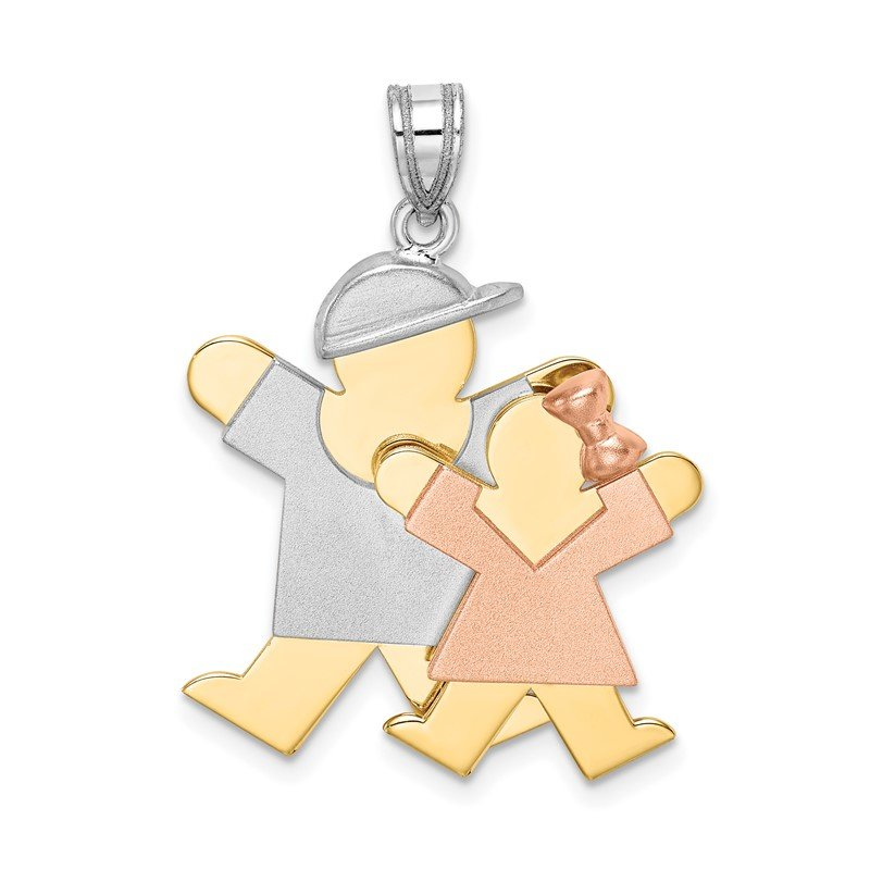 Quality Gold 14k Tri-Color Big Boy and Little Girl Engravable Charm