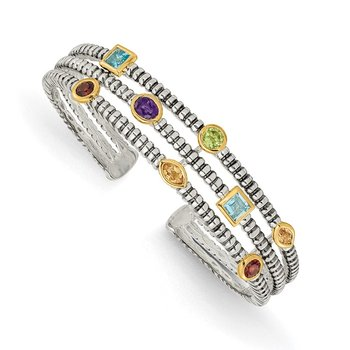 SS w/14k True Two-tone 1.74tw Gemstone Cuff Bracelet