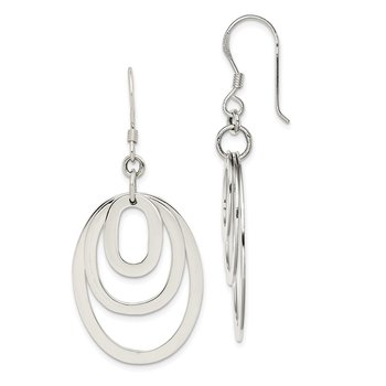 Sterling Silver Triple Oval Dangle Earrings