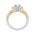Carizza Round Cut Solitaire Diamond Vintage Engagement Ring In 14K Two-Tone Gold (Semi-Mount)