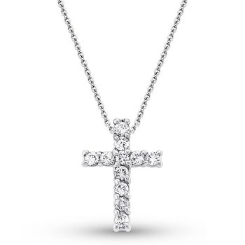 Diamond Cross Necklace in 14k White Gold with 11 Diamonds weighing .48ct tw.