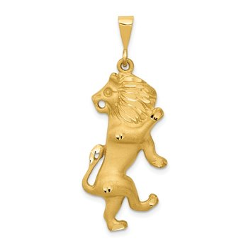 14k Satin Diamond-cut Leo Zodiac Charm