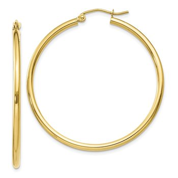 10K Polished 2mm Tube Hoop Earrings