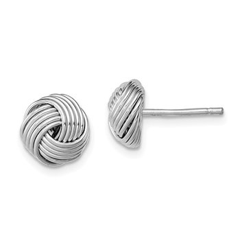Sterling Silver Rhodium-plated Polished Twisted Knot Bead Post Earrings