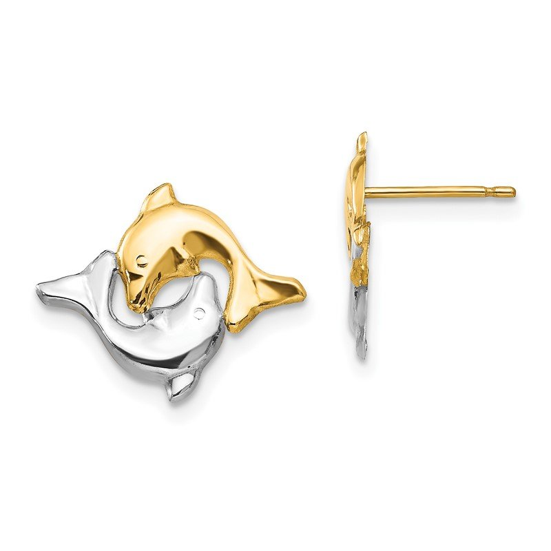 Quality Gold 14k Madi K w/Rhodium Dolphin Post Earrings