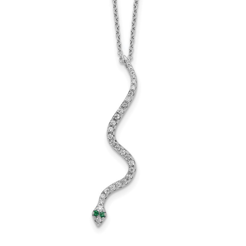 Quality Gold Sterling Silver Rhodium-plated CZ Snake Necklace