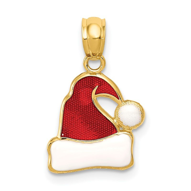 Quality Gold 14k Enameled Santa Hat Pendant
